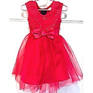 Pink & Violet Girls Dress Holiday Red Sequins 2T
